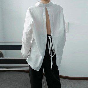Men's Wear Design White Shirt 2021 Autumn Irregular Back Bandage Loose Korean Style Long Sleeve Fashion Niche Casual Shirts