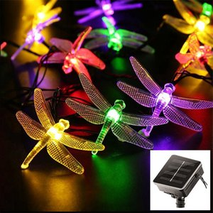 New creative 20   30led solar dragonfly rope light outdoor dwaterproof water christmas lights fairy lawn solar lamps