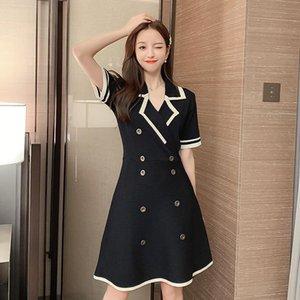 Örgü Kadın Tek Parça Elbise Kore Yaz Bahar Kısa Kollu Yüksek Bel Elbiseler Siyah Kayısı 917