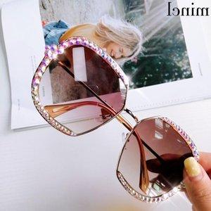 Luxury Rhinestone Square Sunglasses Women Brand Pink Black Clear Lens Oversized Diamond For Men Vintage Shades FML