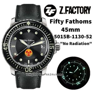 "ZF Fábrica Relojes 5015b-1130-52 Cincuenta Fathoms 45mm ""Sin radiación"" CAL.1315 Autoamtic Mens Watch Sapphire Bisel Black Dial Canvas Strap Sports Gents WristWatches"