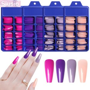 False Nails 100Pcs Fake Nail Coffin Long Ballerina Professional With Designs Press On Candy Pink DIY Manicure Decor For Women Art