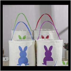 Other Festive Party Supplies Home & Garden Drop Delivery 2021 Basket Round Canvas Gift Bag Cartoon Cute Bunny Tails Bucket Put Easter Jute Ra