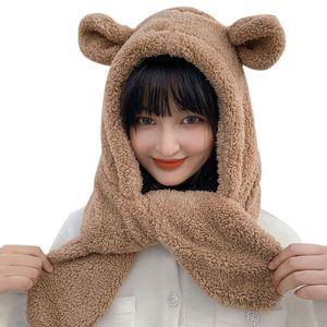 Fashion Winter Novelty Beanies Warm Cute Bear Ear Plush Hat Scarf Set Casual Solid Women Caps Present