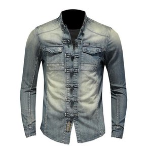 Mens Jacket Shirt long sleeve denim shirt soft and comfortable blue mens long sleeve thin jacket