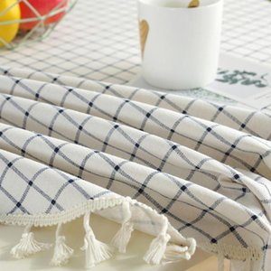 Table Cloth Round Tablecloth El With Tassel Dining Room Oilproof Home Decoration Kitchen Protective Cover White Grid Wedding Soft