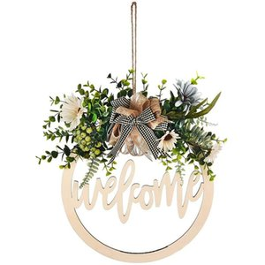 Welcome Hello Sign Wreath Set Front Door Hanger With Bow 12 Inch Round Outdoor Hanging Vertical Home Decoration AND Hooks & Rails