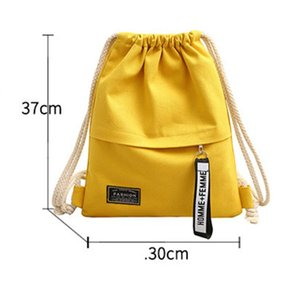 Women Canvas Storage Drawstring Bag Rucksack Backpack Casual For School Travel -MX8