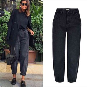 Women's Jeans Spring autumn fashion cotton denim jeans women high waist black retro harem washed office lady Casual female K344 AZ4U