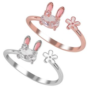 Fashion Jewellery Women's Ring Cute Rabbit Rings Opening Adjustable Metal Animal Ring Female Jewelry Gift