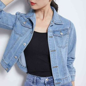 Denim Jackets Women Basic Coats 2020 Spring Autumn New Fashion Female Long Sleeve Solid Wild Casual Outerwear Denim Coats jacket