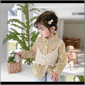 Shirts Children Cotton Girls Clothing Spring Autumn Long Sleeve Tops Blouses Waistcoat Vest 2Pcs Sets 1-6T B4509 Wogwg Bqnh0