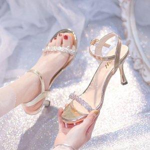 Elbise Ayakkabı Stiletto Topuk Sandalet Kadınlar Kristal Şeffaf PVC Yaz Parti Açık Toe Yüksek Gümüş Altın Açık