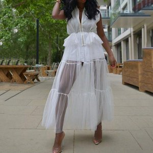 White Sexy Mesh Long Dress Party Club 2020 Sleeveless Patchwork Maxi Dress Robe Femme Vestiods Plain Zipper Fashion Women
