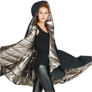 EVA Liberté Hiver Fashioned Fashioned Manteau Brillant Épaississement Double-côté Veste à capuchon à capuche femelle EF6898