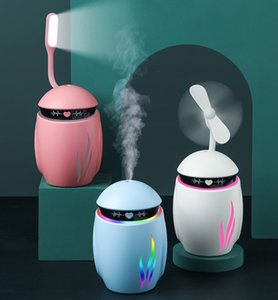Creative 3 in 1 Fans Small Q Humidifier Essential Diffuser Aroma Lamp LED Night Light Mini USB Fan Aromatherapy Air Freshener Fogge