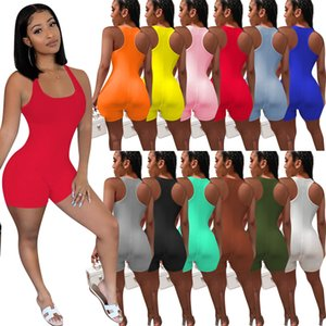Women's Jumpsuits Summer Casual Rompers sleeveless tshirt vest shorts running sport Jumpsuit plus size S M L XL 2XL red black pink