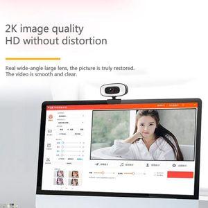 웹캠 2K USB 웹 카메라 PC 컴퓨터 아름다움 자동 초점 무료 드라이브 캠 W / 마이크 / 3 기어 필 가벼운 스트리밍 T21B