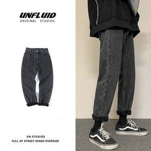 Men's Jeans INXYZ Fall Trend Fashion Solid Color Oversize Streetwear Wide-leg Trousers Autumn Winter Fleece Warm Women's Pants
