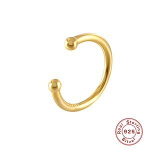 925 Sterling Silver women's earmuffs 1 piece charming zircon clip earrings gold earmuffs nonperforated Earrings Jewelry 1413 Q2