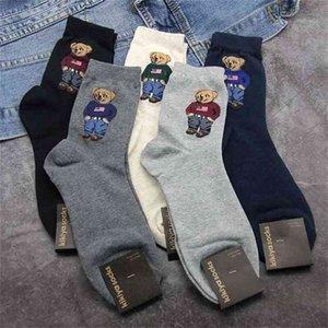 2021 Mix 5 Colors Cotton Autumn Breathable Skateboard Happy Socks Men Winter Cartoon Bear Mid Tube Socks for Men Christmas Gift1