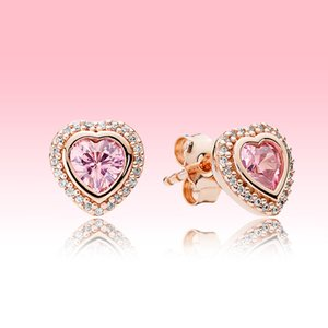 Pink Sparkling Heart Stud Earrings luxury designer Rose gold plated Jewelry for Pandora 925 Silver Love hearts Earring with Original box