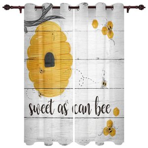 Bee Honey Wood Grain Hive Window Curtains For Living Room Kitchen Bedroom Drapes Kids Home Decor Curtain &