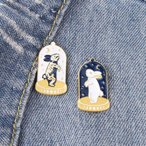 Rabbits Enamel Brooches Punk Gothic Animal Pins Bades for Denim Clothes Bag Fashion Jewelry Gift Friends
