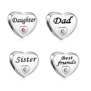 New style Charm heart Beads Family Member Friend Dad Sister Daughter Charms Fit for Necklace bracelet DIY Jewelry Accessories Gift 172 W2
