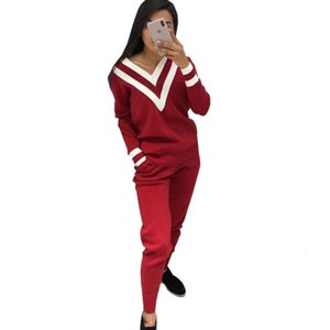 Autumn Winter Womens Two Piece Sets Casual Knitting Suit Stripe Matching V Neck Knitwear Wholesale Women Suit