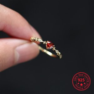 Cluster Rings 925 Sterling Silver Sweet Lovely Red Heart Diamonds Finger Love Women Fashion Tail 18K Gold Ring Party Jewelry Wedding Gift