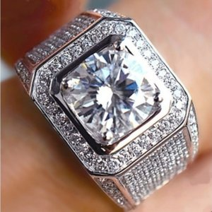 Original Luxury Big Wedding Rings Set for Men Engagement Finger Ring Silver 925 Jewelry Wholesale ZR225