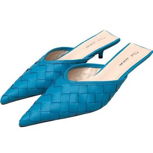Slippers Pointed Toe Women Weave Design Thin Low Heels Slip On Fashion Blue Shoes Outdoor Causal Slides Mules