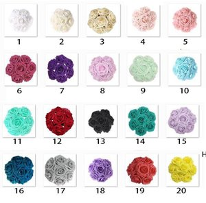 Hot Selling Colorful Foam Artificial Rose Flowers w Stem, DIY Wedding Bouquets Corsage Wrist Flower Headpiece Centerpieces DHD6098