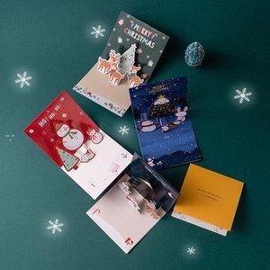 Christmas 3D Greeting Cards Xmas Eve Greetings Happy Holiday Card Three-dimensional Santa Claus Elk Snowman OWD10565