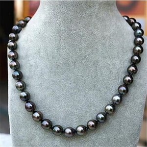"Women's Fashion 18"" Tahitian Pearl Natural Black 8-9mm Genuine Necklace Ctrol"