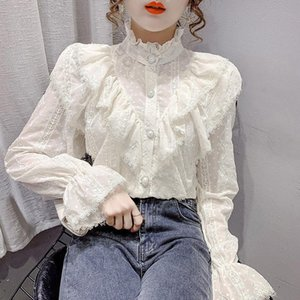 Women's Blouses & Shirts Women Blouse Ruffled White Long-Sleeved Lace Spring Shirt Stand-up Collar Flared Sleeves Top Blusas Mujer De Moda