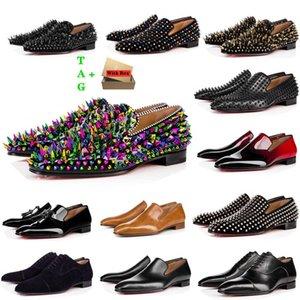 Мужские красные днища обувь дизайнеры низкие плоские заклепки вышивка мужчина деловой банкетный платье обувь роскошь патент замшевые стилистские шипы подлинные