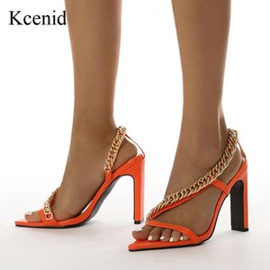 Sandals Kcenid Summer Ladies Sexy Pointed Toe Gold Chain Women's Shoes High Heels Dress Party Gladiator 35-41