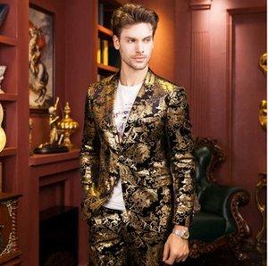 Abbigliamento maschile Abbigliamento Blazer Anziano Designer Gold Stampa di alta qualità Fashion Golden Brand Suit da sposa Coltiva la moralità Au