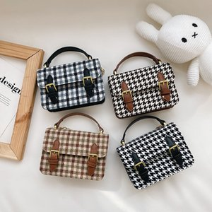 girls princess handbags fashion kids houndstooth printed business bag children plaid carry accessories small square bags women wallet F774