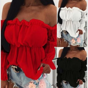Spring New Off Shoulder Women Tshirts 2021 Office Lady Elegant Full Sleeve White Tee Club Party Sexy Casual Shirt