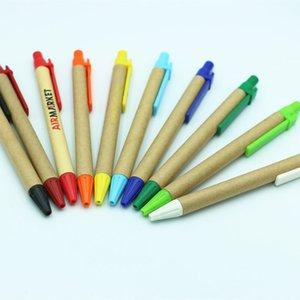 Promotional Students Ballpoint Pens Eco-Friendly Paper Ballpoint Pens Custom Logo School Supplies Stationery Plastic Clip Pens DH1334