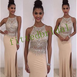 Sexy Halter Neck Long Prom Dresses Sparkly Crystal Beaded Side Split Evening Prom Gowns Formal Party Wear Dress Custom Made