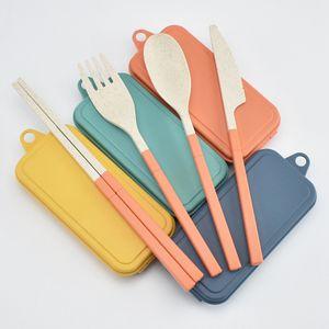 Paja de trigo Cubiertos plegables Conjunto de cuchillos para niños Cuchara de cuchara Chopsticks Portátiles Kits de vajilla Juego de cubiertos para viajar Camping RRA4616