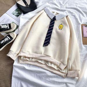 Plus Velvet Autumn Winter College Wind Jacket Student Fake Two-piece Sweatshirt Collar Female Loose Pullover Korean Version Women's Hoo Hood