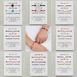 2 Stks set Heart Star Cross Charm Bracelets You One Me Red Wire Flat Pair Bracelet for Men Women Card