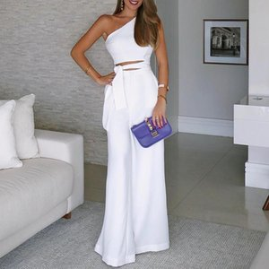 Women White Lace-up Office Jumpsuits For One Shoulder Jumpsuit Sexy Backless Slash Neck Wide Leg Pants Women's & Rompers