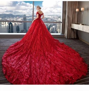 Lace Wedding Dress 2019 Luxurious Ivory Bridal Dresses Custom Made Floor Length Off Shoulder Red Bridal Ball Gown Long Tail