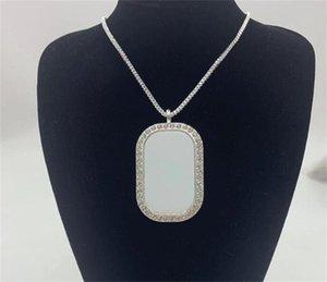 50pcs lot Sublimation Alloy Necklace Printable Pendant With Chain DHL 1328 V2